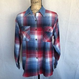 St. John's Bay Women's Plaid Button Up